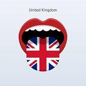 United Kingdom language. Abstract human tongue.