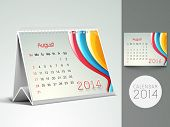 New Year 2014 desk calender or August month planner.