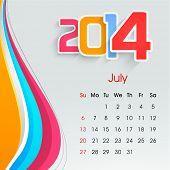 New Year 2014 July month calendar.