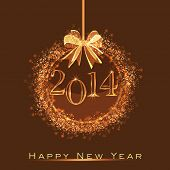 Happy New Year 2014 celebration flyer, banner, poster or invitation with hanging decorative Xmas bal