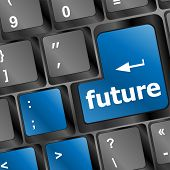 Future Key Or Keyboard Showing Forecast Or Investment Concept