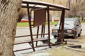 MOSCOW - APRIL 28: Car crashed into bus stop on Progonnyy passage, on April 28, 2013 in Moscow, Russ
