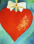 Christmas Heart On Blue Background