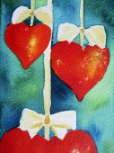 Christmas Hearts On Strings