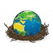 Vector illustration of globe in a bird's nest