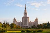 Moscow State University building in Moscow in sunny day