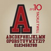 stock photo of alphabet  - Set of Tackle Twill Alphabet And Numbers Vector - JPG