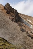 Iceland. South Area. Fjallabak. Volcanic Landscape With Rhyolite Formations.