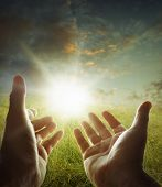 foto of worship  - Hands reaching for the sky - JPG