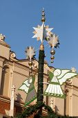 pic of angel-trumpet  - Christmas decorations with playing on trumpet angel on Main Market Square in Cracow - JPG