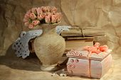 Beautiful still life with vintage casket and flowers