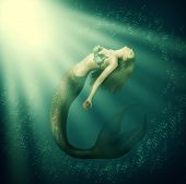 Fantasy Beautiful Woman Mermaid With Tail