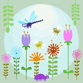 Insects In Flower Garden