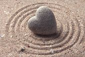 stock photo of rest-in-peace  - Grey zen stone in shape of heart - JPG