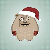 Funny hipster wombat wearing Santa's hat