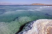 picture of sea salt  - Coastline of the Dead Sea and mountain Sdom - JPG