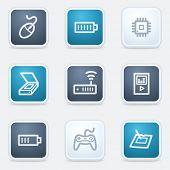Electronics web icon set 2, square buttons