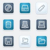 Drives and storage web icon set, square buttons