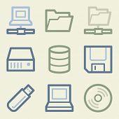 Drive storage web icons, money color set