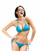 Portrait of woman wearing bikini and sunglasses, isolated on white. Concept of summer holidays and traveling