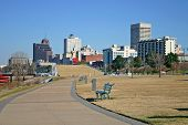 stock photo of memphis tennessee  - a view of the skyline of Memphis, Tennessee, from a city park