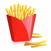 picture of french fries  - French fries in a red box over white - JPG