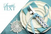 Beautiful Aqua Blue Festive Christmas Dining Table Place Setting With Happy Holiday Ornaments And De