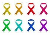 Eight Colored Ribbons On White