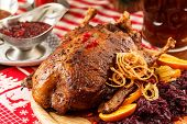 roasted duck on Christmas table