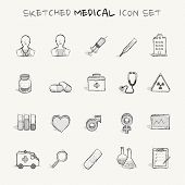 Sketched medical icon set
