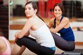 Pretty Hispanic girls at a gym