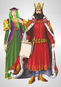 stock photo of king  - King and Queen Detailed Illustration - JPG