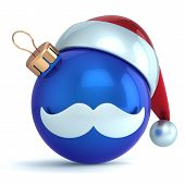 Christmas ball ornament Santa Claus hat New Year bauble blue decoration happy emoticon