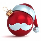 Christmas ball ornament Santa Claus hat New Year bauble red decoration happy emoticon avatar