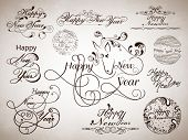 Happy New Year 2014 and Merry Christmas calligraphic and typographic elements set, frames, vintage l