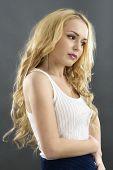 Young Beautiful Woman Studio Isolated. Sensual Model Fashion Posing. Beauty Shoot Of Attractive Girl