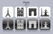 Landmarks of Paris. Set of monochrome icons. Raster illustration.
