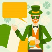 Saint Patrick's Day illustration with hipster leprechaun.