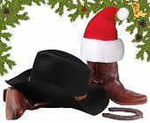 American Black Hat With Cowboy Boots.christmas Objects Isolated On White