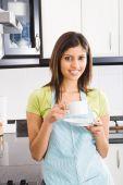 beautiful woman drinking tea