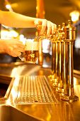 stock photo of spigot  - waiter is drafting a beer from a golden spigot - JPG