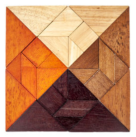 stock photo of tangram  - square shape created from 4 sets of wood tangram - JPG
