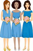 Illustration Featuring Bridesmaids of Different Races