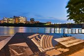 WASHINGTON DC - MAY 08, 2014: Key Bridge and Rosslyn as seen from Georgetown Waterfront Park at nigh