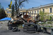KIEV, UKRAINE - APR 28, 2014:Vandalism in downtown. Kiev under occupation of peasants from Western U