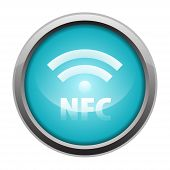 NFC metallic icon button blue