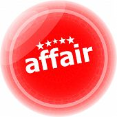 Affair Word Red Stickers, Icon Button, Business Concept