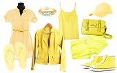 Collage of clothes in yellow colors isolated on white
