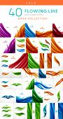 Mega set of abstract floral / feather wavy lines backgrounds