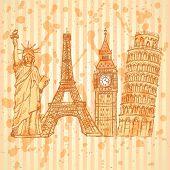 Sketch Eifel Tower, Pisa Tower, Big Ben And Statue Of Liberty, Vector Background